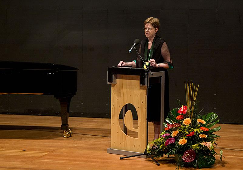 Grußwort zum Auftakt des Konzertabends: Frau Prof. Dr. Susanne Rode-Breymann (Präsidentin der HMTM Hannover)