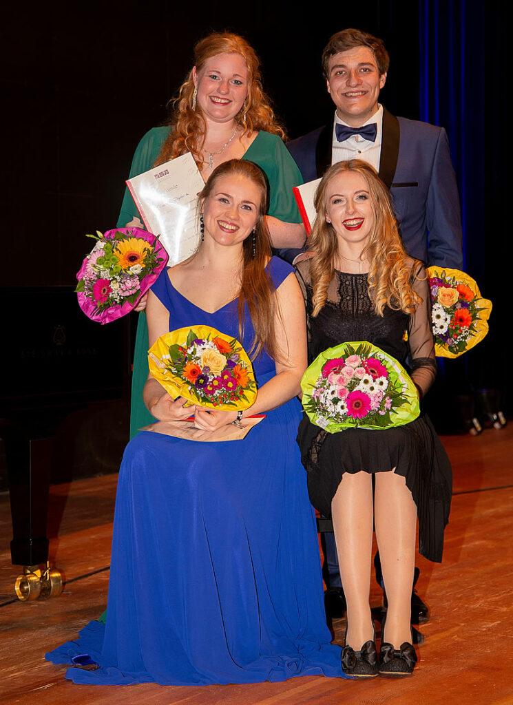 Foto der Stipendianten: Elisabeth Dopheide, Artur M. Garbas, Indré Pelakauskaité, Veronika Seghers